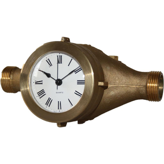 Table clock Aqua in solid brass case