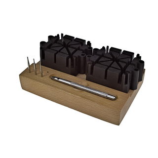 Bracelet pin tool set De Luxe on wooden pedestal for the repair of metal bracelets