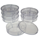 Transparent repair container with 5 compartments and lid,...