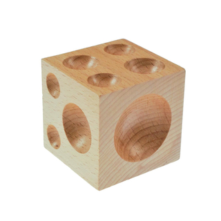 Solid wooden dapping / doming cube with 18 holes for driving soft metals