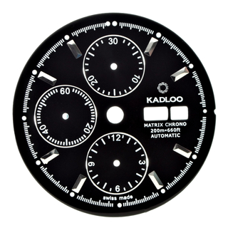 KADLOO Matrix Chrono dial for Valjoux 7750 and other movements black/steel